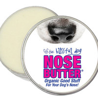 Original Dog Nose Butter - Organic Salve for Dry or Crusty Dog Noses 2 oz. Tin With Just A Nose Labels in Organza Gift Bag