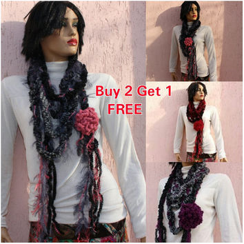 Gray Tassel Scarf Knit Circle Chain Scarf Knit Infinity Cowl Tube Scarf Necklace Lariat Scarf BUY 2 GET 1 FREE Express Shipping