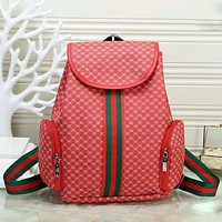 GUCCI Fashion New More Letter Print Stripe High Capacity Women Men Backpack Bag Red