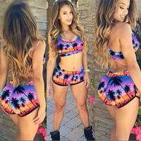 Multi-color Tree Print Bikini