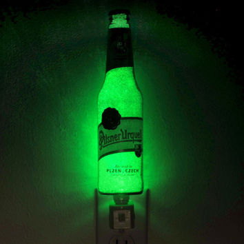 "Urquell Pilsner Beer 12oz Night Light / Accent Lamp- VIDEO DEMO-  Eco LED...""Diamond Like"" Glass Crystal Coating on interior"