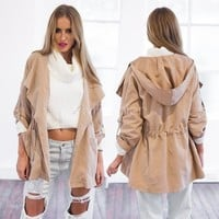 Stylish Lady Women's Long Coat Trench Windbreaker Hoodies Outwear VVF [9035542087]