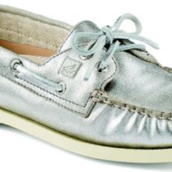 Sperry Top-Sider Authentic Original Metallic 2-Eye Boat Shoe Silver, Size 11M  Women's Shoes
