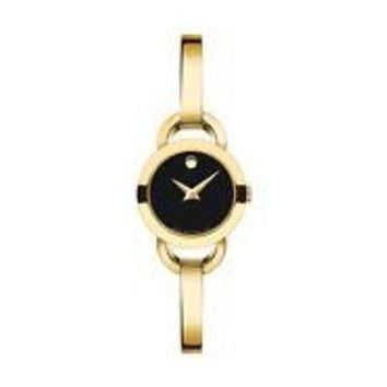 Movado Rondiro 0606888 Black/Gold Stainless Steel Analog Bangle Women's Watch