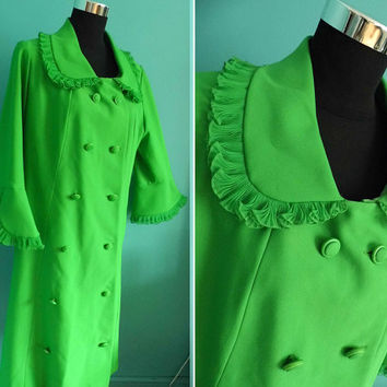 "1960's Bright Green Double Breasted Coat by Ann Michael with Peter Pan Collar Audrey Hepburn Mod Style 42"" Hips Peacoat"