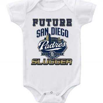 New Cute Funny Baby One Piece Bodysuit Baseball Future Slugger MLB San Diego Padres #2