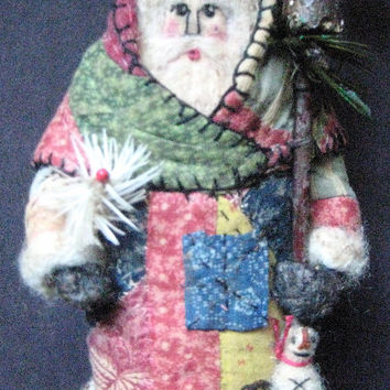 "OOAK Primitive Folk Art Santa- ""PATCHWORK PRAIRIE"" ---Original Design Handcrafted from Olde Quilt and Sheep Wool w/ Birdhouse and Snowman"