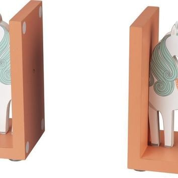 Wooden Unicorn Book Ends with Glitter Details