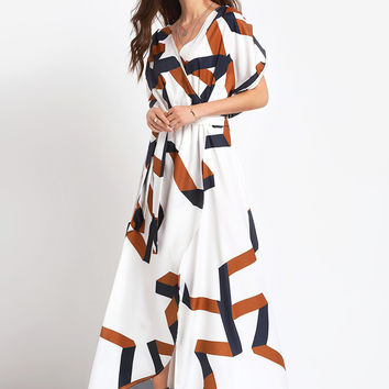 White short Sleeve Geometric Pattern Slit Dress | MakeMeChic.COM