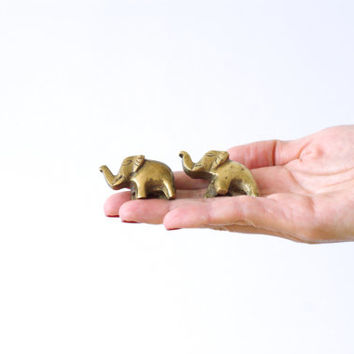 MINIATURE BRASS ELEPHANTS, Mini Elephant Figurine, Mini Golden Figure, Shadow Box, 2 Little Trinkets