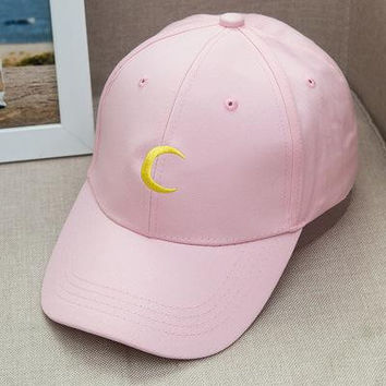Sailor Moon Crescent Dad Hat Embroidered Baseball Cap Women Strapback Caps Bone Casquette Gorras Hip Hop Sun Visor Hat Pink