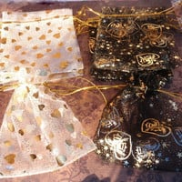 "6 Heart Organza Bags 4"" x 4.5"" - Choice of Colors, White Gold Hearts, Black Gold Hearts Assorted, Metallic Gift Pouch Drawstring Jewelry Bag"
