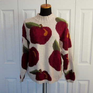 Vintage Apple Sweater Hand Knit Pullover Crewneck Sweater with Apples Talbots Womens Medium Natural Maroon Fruit Novelty Ugly Sweater