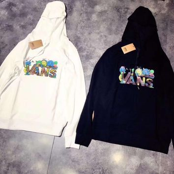 Vans Fashion Print Hooded Top Sweater Pullover Sweatshirt