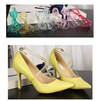 1 Pair 58cm Locking Shoes Silicone Shoelaces, Women Transparent Locks Laces, High Heeled/Flat Shoe Safety Clips Bands, No Tie