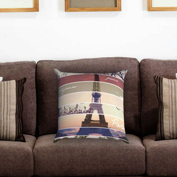 Vintage Eiffel Paris Pillow Cover , Custom Zippered Pillow Case One Side Two Sides
