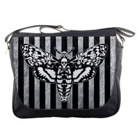 Death Head Moth Striped Messenger Bag