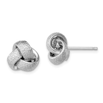925 Sterling Silver Rhodium-plated Polished & Satin Knot Earrings