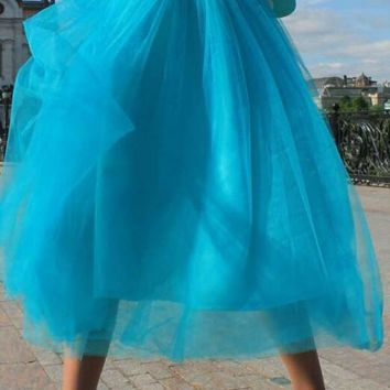 New Blue Grenadine Pleated High Waisted Tulle Tutu Homecoming Party Elegant Midi Skirt
