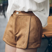 Faux Suede Leather Zipper Pocket Shorts
