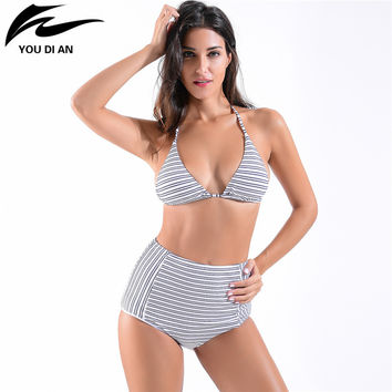 High Waist Swimsuit Bikini Women 2017 Push Up Swimwear Sexy Stripe woman Swimwear High Quality  Beach Wear  Bathing Suit