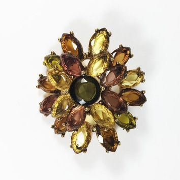 Fall Gold Brown & Green Brooch Signed MONET Vintage 1980s 1990s Modern Lucite Marquis Rhinestones Oval Cluster Pin Autumn Colors Yellow