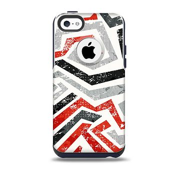 The Red-Gray-Black Abstract V3 Pattern Skin for the iPhone 5c OtterBox Commuter Case