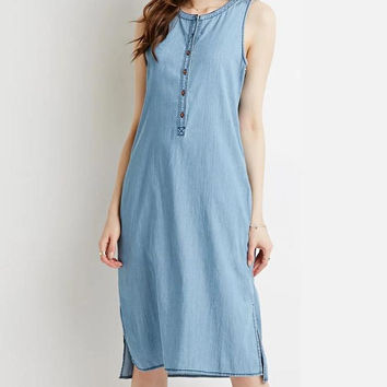 Fashion 2016 Women Vintage Blue Denim Button Knee-Length Dress Sleeveless O-Neck Side Open Summer Casual