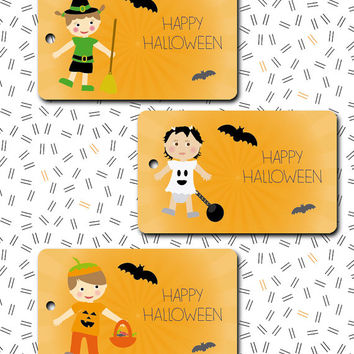 Halloween tag trick INSTANT DOWNLOAD or treat  favor label / printable pdf /  Thank you tags bags cards party my first Birthday children