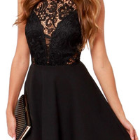 Black Sleeveless High Neckline Sheer Lace Cut Skater Dress
