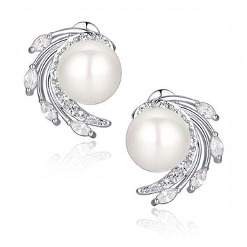 Shell Pearl W. Clear Marquise and Round Cubic Zirconia Stud Earrings