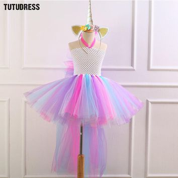 Train Unicorn Girls Tutu Dress with Headband Bustle Rainbow Girl Birthday Party Dress Children Kids Halloween Dress Costume 2-12