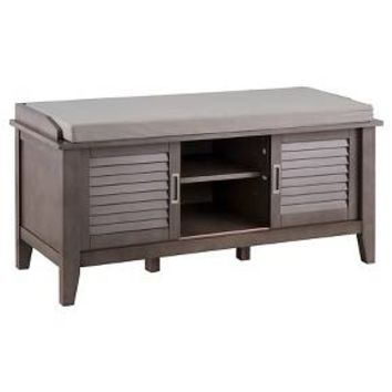 Storage Bench with Slatted Doors Wood - Threshold™