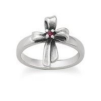 Delicate Ribbon Cross Ring with Ruby | James Avery
