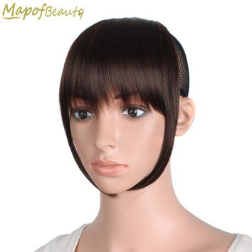 Short Front blunt bangs Clip in Hair extensions 6 inches dark light brown black Heat Resistant Synthetic Hair Fringe MapofBeauty