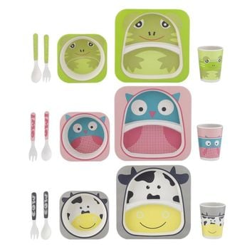 Baby Feeding Dishes Set Bowl Forks Spoon Cup Bamboo Kids dinnerware Plate Set Learning Dishes Cup Assist Food Bowl Dinnerware