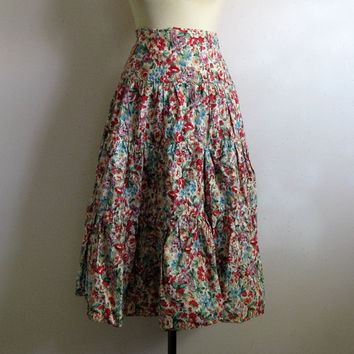 Vintage 1980s Wrap Skirt Cotton Floral 80s Red Mauve Green Ruffled Midi Skirt 11