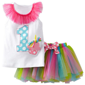 Summer Baby Girl Clothes Sets White Cotton Letter Print T-shirt + Mini Rainbow Tutu Skirt Suits For Baby 1 Year Birthday Wear