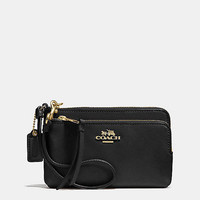 MADISONdouble zip wristletin leather