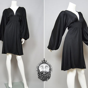 Vintage 70s OSSIE CLARK Balloon Sleeve Little Black Dress Plunging Neckline Deep V Mini Dress Radley Evening Gown 1970s Designer Clarke