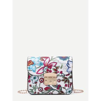 Multicolor Flower Print Embroidery Pu Chain Cross Body Bag