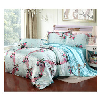 Silk King Queen Double Size Silk Duvet Quilt Cover Sets Bedding Cover Set 1.5M/1.8M Bed 09