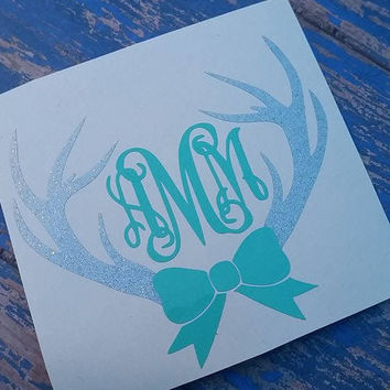 Deer Antler Bow Monogram | Deer monogram | Southern Decal | Car decal | Preppy | Monogram | Glitter Decal | Southern Girl | Bow decal