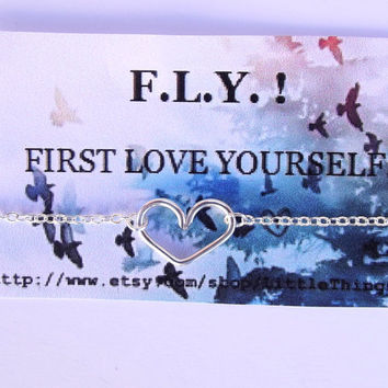Inspirational Quotes - FLY  inspirational necklace -  Open Your  Heart Necklace.