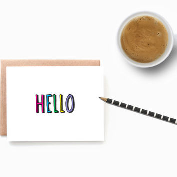 Hello Notecards - Hello Card - Notecards - Thinking of You - Just Because Card - Pen Pals - Stationery Card - Blank Cards