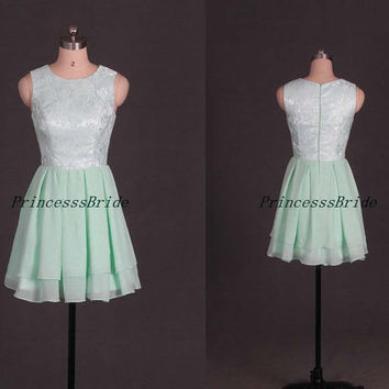 2014 mint chiffon and lace bridesmaid dresses,cheap short girls dress for wedding party,chic cute bridesmaid gowns on sale.