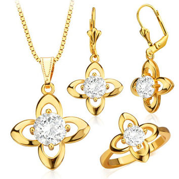 Gold Faux Crystal Floral Necklace Earrings and Ring