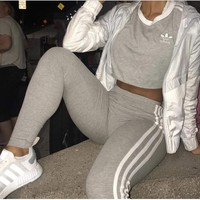 ADIDAS Trending Women Men Lovers Two Piece Suit Sports Set Side Line Stripe B104504-1 Grey
