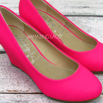 It's A Lovely Day Neon Pink Mini Wedges