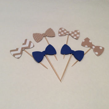 Navy and Cream Bow tie cupcake toppers. Chevron, polka dots, stripes and Houndsthooth Partypicks, Party decor, Baby shower;  12 per order